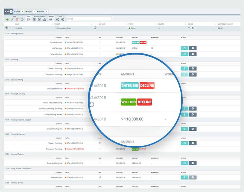 buildtools bid management screenshot