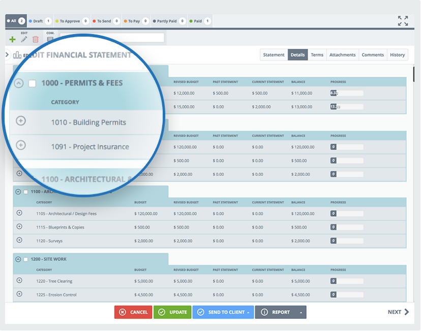 buildtools financial statements screenshot